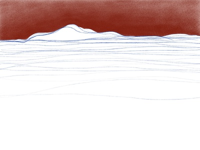 Red View-1 minimalism minimal mountain sky illustration comic ipad view red