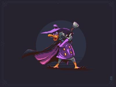 Darkwing duck [pixel art] pixels illustration 16bit 8bit aseprite sprite game art character pixel art pixelart darkwingduck