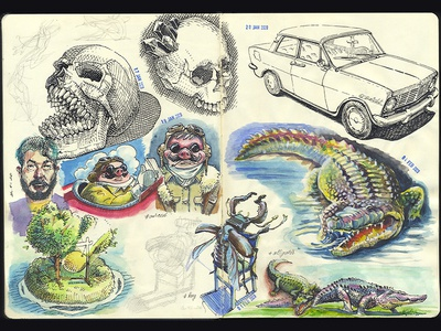 spread of the working sketchbook
