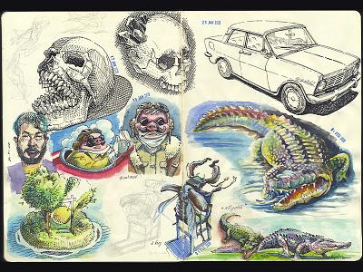 spread of the working sketchbook sketching illustraion storyboarding storyboard doodle watercolor ink and watercolor sketch sketchbook