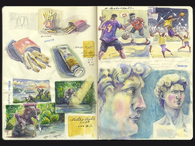 ...and another one traditional art hand drawing david french fries fishing basketball practice sketching storyboarding draft doodle watercolor sketchbook