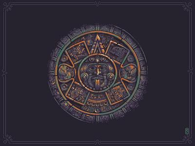 Aztec sun stone 🌞 (Piedra del Sol)[pixel art] civilization native american pixelart game art aseprite calender maya pixels pixel art illustration aztec
