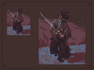 Miyamoto Musashi (宮本武蔵) [pixel art] aseprite bushido katana swordman illustration game art 8bit pixels pixelart samurai ronin