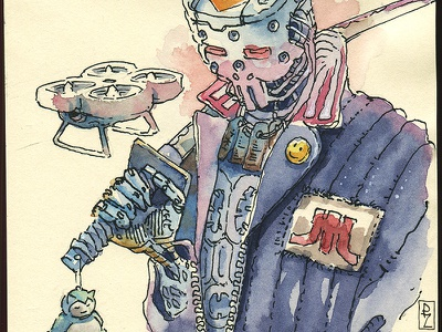 ronin marchofrobots storyboarding book illustration pokemon cyberpunk 2077 cyberpunk watercolor illustration concept art character design character android robot samurai ronin