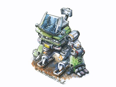 walker ink and watercolor book illustration cartoon android robot walker traditional art hand drawn sketch gameart illustration character concept watercolor