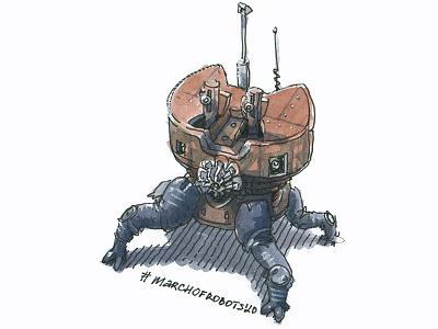 crabot cartoon game art gamedev robot bot marchofrobots concept art watercolor character design character illustration