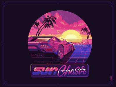 Sun Chaser [pixel art] 16bit snes sega chase virtual reality california 90s 80s retro sticker musclecar car sunset palms ride synt wave synthwave pixel art pixelart retrowave