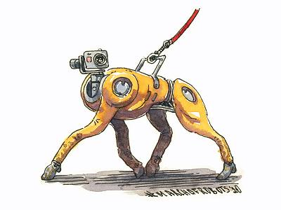 robodog drawing ink design character design strut editorial illustration illustration marchofrobots character concept art characterdesign dog robot hand drawn sketch watercolor