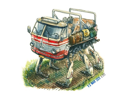 Walker based on old bus by Lviv Autobus Plant (ЛАЗ) march of robots marchofrobots character character design concept art drawing ink illustration bus walker robot characterdesign conceptart gamedev editorial illustration book illustration hand drawn watercolor