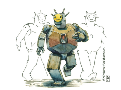 Rusty one on parade sketch marchofrobots robot characterdesign character illustration handdrawn watercolor