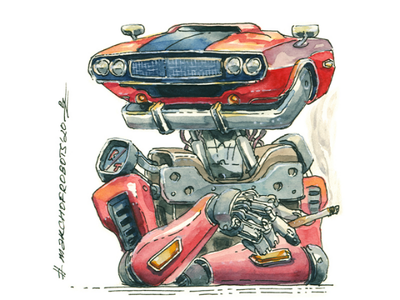 🤖🚬 Challenger bot challenger android marchofrobots book editorial concept art character design muscle car dodge traditional art handdrawn illustration robot character watercolor