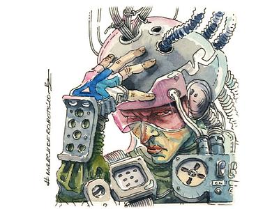 Cyberpunk cowboy marchofrobots2020 marchofrobots vr virtual reality editorial illustration gamedev book illustration illustration hand drawn design character concept art watercolor cyberpunk2077 cyberpunk