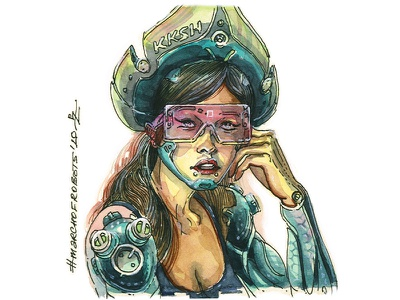 Girl with auguments in kokoshnik implant auguments ink and watercolor traditional hand drawn gamedev concept art characterdesign character illustration marchofrobots2020 marchofrobots watercolor cyberpunk2077 cyberpunk