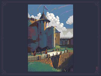 Khotyn Fortress [pixel art] aseprite background sprite design bridge medieval pixels old school castle gamedev 16bit 8bit pixel art pixelart illustration fortress