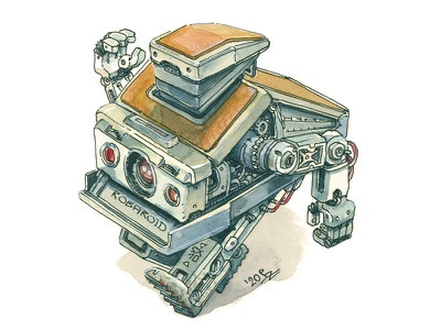 Robaroid SX10 instant camera sketch hand drawn marchofrobots mech android robot concept art design characterdesign character polaroid watercolor illustration