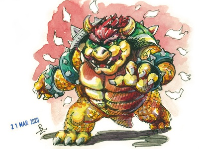 Quick Koopa watercolor character design game dev pen drawing artist design book illustration editorial illustration character super mario bros nintendo koopa sketch illustration hand drawn watercolor