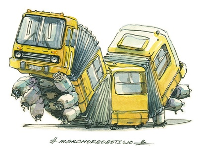 IK280 sketch marchofrobots caterpillar transport droid mecha bus robot march of robots watercolor ink editorial illustration book illustration hand drawn drawing illustration character design character concept design concept art
