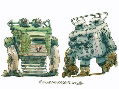 cubots gamedev mecha ink hand drawn sketch editorial book illustration watercolor transport walker robot characterdesign design chracter conceptart concept art illustration marchofrobots2020 march of robots