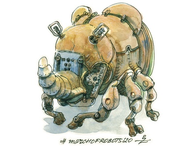 Rinobot march of robots bug mechanic sci-fi fantasy design concept art character robot bot mecha editorial book illustration illustration ink drawing pen and ink sketching nand drawn watercolor