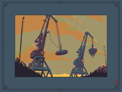 Dock 2 (Magnet cranes) [pixel art] pako-pixel retro art 16bit 8bit concept art environment sprite pixel dailies game art crane illustraion pixelartist pixelart aseprite pixels pixel art dock