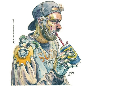 Just a guy sipping his WD40 hatching sketch young adult editorial illustration fashion illustration book illustration drawing illustration march of robots cyborg future concept art character design hand drawn watercolor cyberpunk 2077 cyberpunk