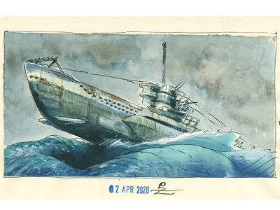 u96 Das boot editorial graphic drawing illustration hand drawn ink watercolor illustration wwii das boot submarine sketch watercolor