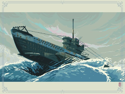 Das boot U96 [pixel art] concept art pixel dailies aseprite game art illustration navy wwii 16bit 8bit pixels pixel art pixelart submarine das boot