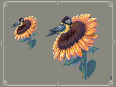 Sunflower and tit [pixel art]