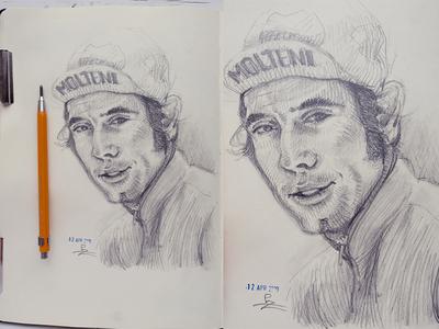 Eddy Merckx (De kannibaal) 🇧🇪🚴 champion ride bicycle molteni graphic etching drawing sketch pencil sketch racer cycling pencil portrait pencil drawing
