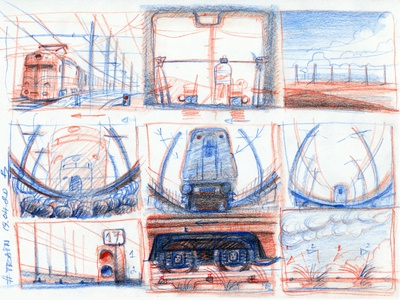 Train rough of storyboard filming animation movie concept art sketching sketch storytelling hand drawing pencil drawing pencil sketch railway train hand drawn storyboarding storyboard