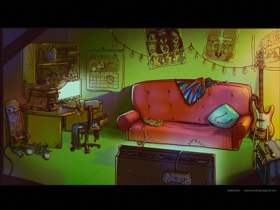 Animation background concept art bass guitar fender skater boy metalhead room teenager cg art digital painting illustration interrior background art background animation