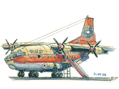 AN-12 watercolor sketch traditional art concept art plane hand drawn turboprop vessel airplane aircarft editorial illustration book illustration illustration ink drawing ink and watercolor watercolor sketch