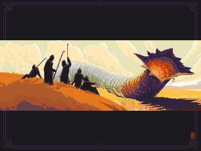 Dune. ShaiHulud [pixel art] concept art arrakis game art fremen sandworm dune illustration 16bit 8bit sprite aseprite dotpict pixels pixel art pixelart