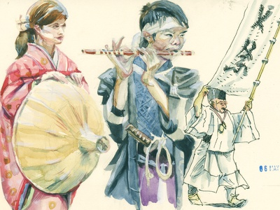 watercolor practice ancient costume character design historical sketchbook traditional art editorial illustration book illustration sketch watercolor kyoto japan