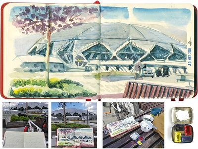 Plein air practice urbansketching traditional art architecture hand drawing sketching usk urban sketching watercolor