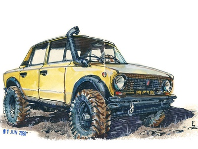 VAZ 2101 big foot акварель vaz editorial book illustration watercolor illustration illustrator traditional art concept art car drawing ink sketch watercolour watercolor