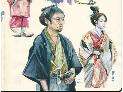 practice practice drawing illustration character design kimono history dress japanese japan sketchbook sketching sketch editorial illustration book illustration fashion illustration traditional art watercolour watercolor