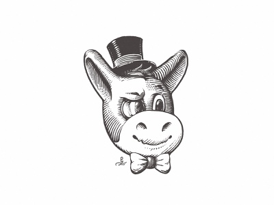 Old Herman top hat gentleman donkey maskot logo crosshatching etching hatching linocut woodcut ink character design adorable character old herman old herman stickermule engraving gravure