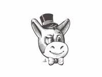 Old Herman top hat gentleman donkey maskot logo crosshatching etching hatching linocut woodcut ink character design adorable character old herman old herman stickermule engraving gravure
