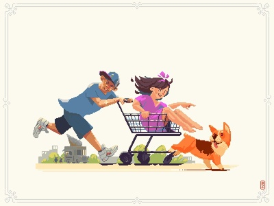 Shopping cart design character adorable play 16bit 8bit run icecream illustration aseprite pixelart pixel art fun shopping cart summer dog children kids