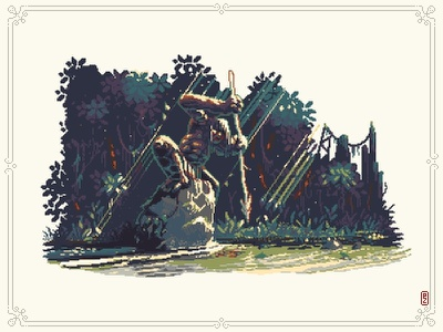 Fishing [pixel art] hunter fish trident spear game development game illustration editorial illustration jungle river game art aseprite 16bit 8bit pixels pixelart pixel art illlustration prehistoric fishing primal