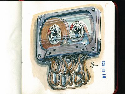 skull cassette for SkullyJuly7 flashmob walkman obsolete illustration oldschool sketchbook tape cassette tape compact cassette cassette skull character characterdesign ink and warercolor sketch watercolour watercolor skullyjuly7 skullyjuly