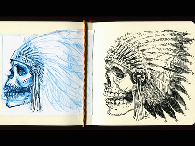 Doodle and Ink Drawing before and after cherokee sioux chief character fountain pen crosshatch woodcut etching graphic hand draw ink drawing black and white skull art redskins native american