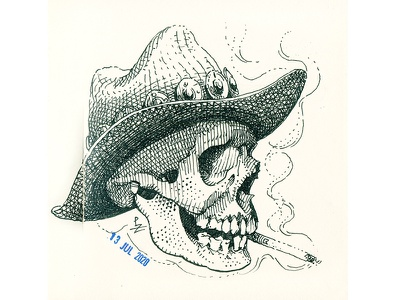 Cowboy's skull character design drawing sketch graphic ink character illustration woodcut etching crosshatching pen drawing black and white smoking cowboy skull western