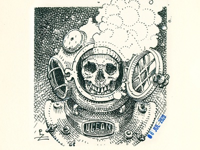 Diver woodcut deep sea character gravure vodka label gin label whiskey label packaging illustration graphicdesign black and white crosshatching etching engraving ink diver