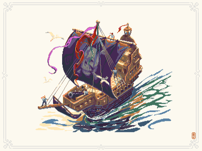 Pirat ship ☠️⛵️[pixel art] sailer pirates corsair 8bit art pixel editorial illustration book illustration pirate ship illustration pixel artist sprite aseprite 8bitart pixels game art 16bit 8bit pixel art pixelart