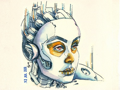 Sheborg for Skully July 7 traditional art hand drawn watercolour concept art illustration character design characterdesign character editorial illustration book illustration ink and watercolor watercolor