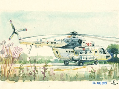 Mi-8 helicopter (as a part of my daily study) chopper watercolor painting drawing sketching sketch traditional art nand drawn editorial art book illustration conceptart helicopter watercolor