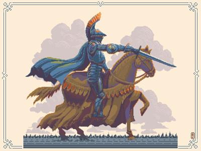 Knight Cavalier [pixel art] graphic concept art illustration character 16bit 8bit sprite aseprite pixel artist pixel art pixelart horse rider cavalier knight