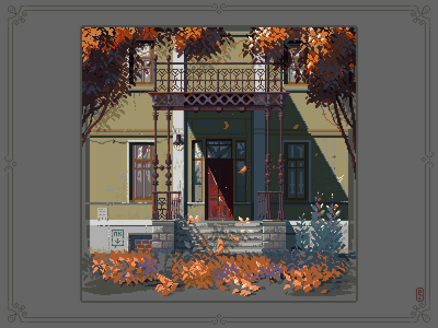 Door to September [pixel art] pixelartist pixel artist game art illustrations 16bit 8bit aseprite architecture autumn illustration pixels pixel art pixelart